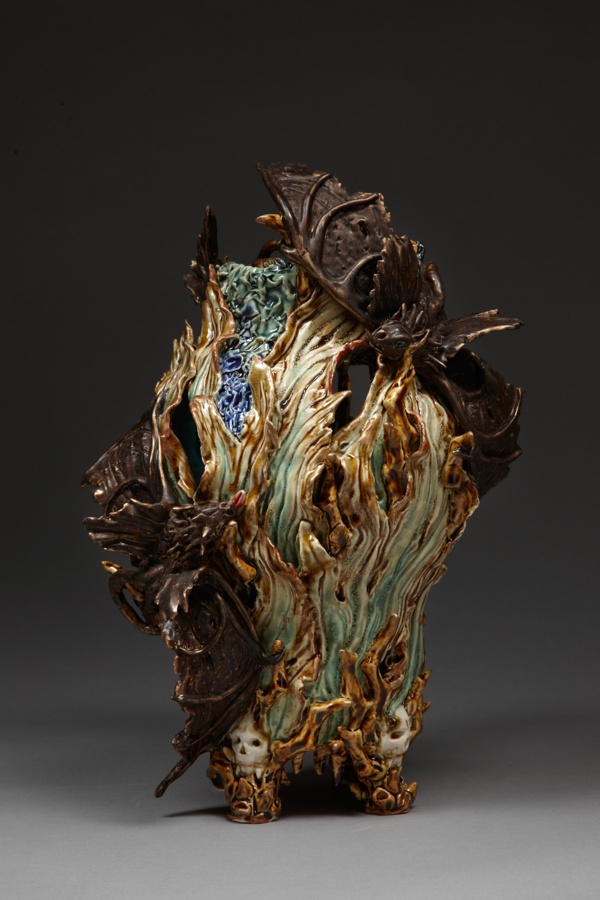 Bats in the Belfry, 2009, stoneware, glaze, bronze wax, H 40cm x W 22cm.jpg