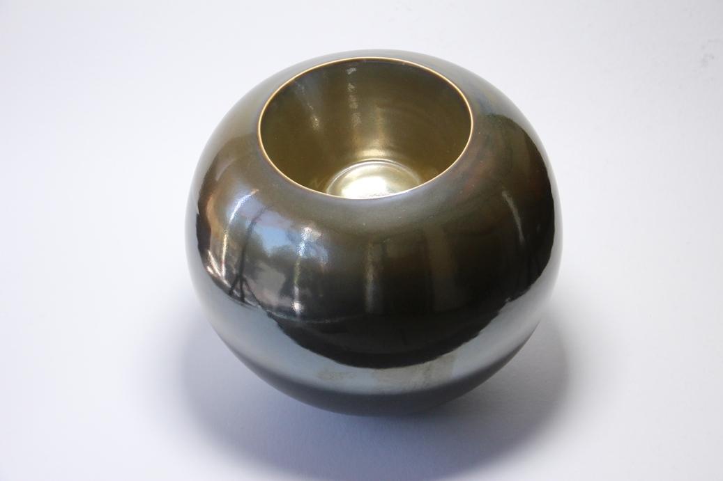Brian Keyte,  Core,  stoneware, shino type iron glaze, H37.5 x W37.5cm, 2016 SOLD