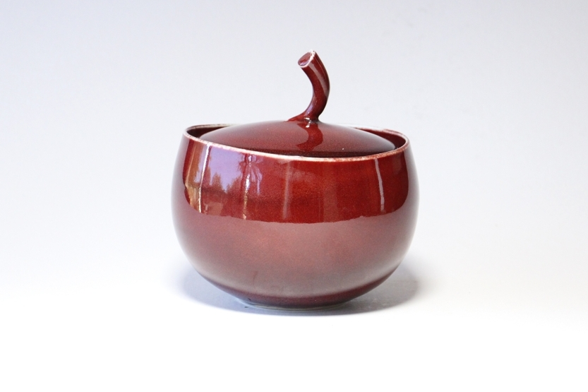 Brian Keyte,  Wave Rim Jar,  stoneware, copper red and flambe glazes, H18.5 x W18cm, 2018 AVAILABLE