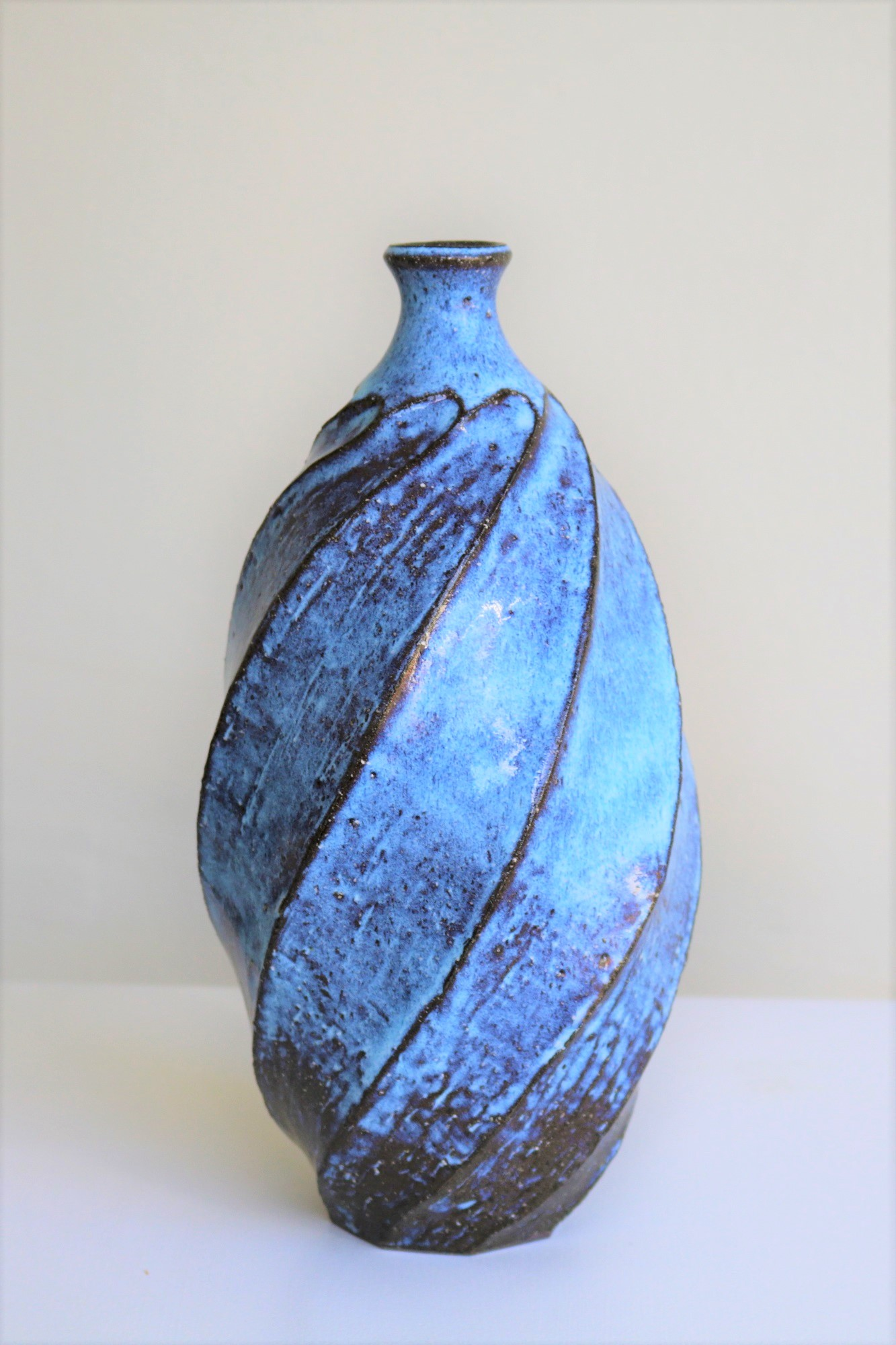 Terunobu Hirata,  Twist Facetted Bottle,  stoneware, pale moon glaze, H26cm, 2017 AVAILABLE