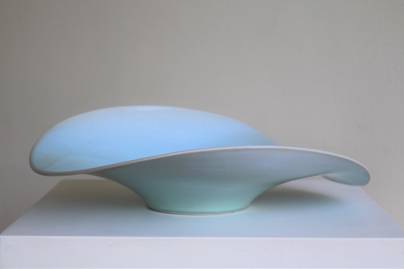Brian Keyte,  Tarn,  stoneware, chun and blue celadon glazes, H10.5 x W38 x D34.5cm, 2018 AVAILABLE