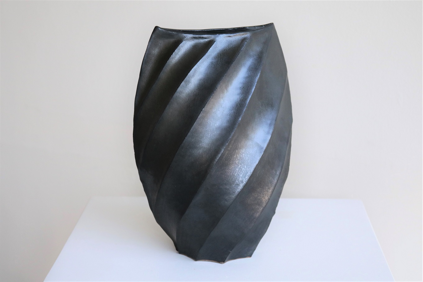 Terunobu Hirata,  'Dark Ridge' Henko,  stoneware, black matt glaze, H28 x W20cm, 2017 AVAILABLE
