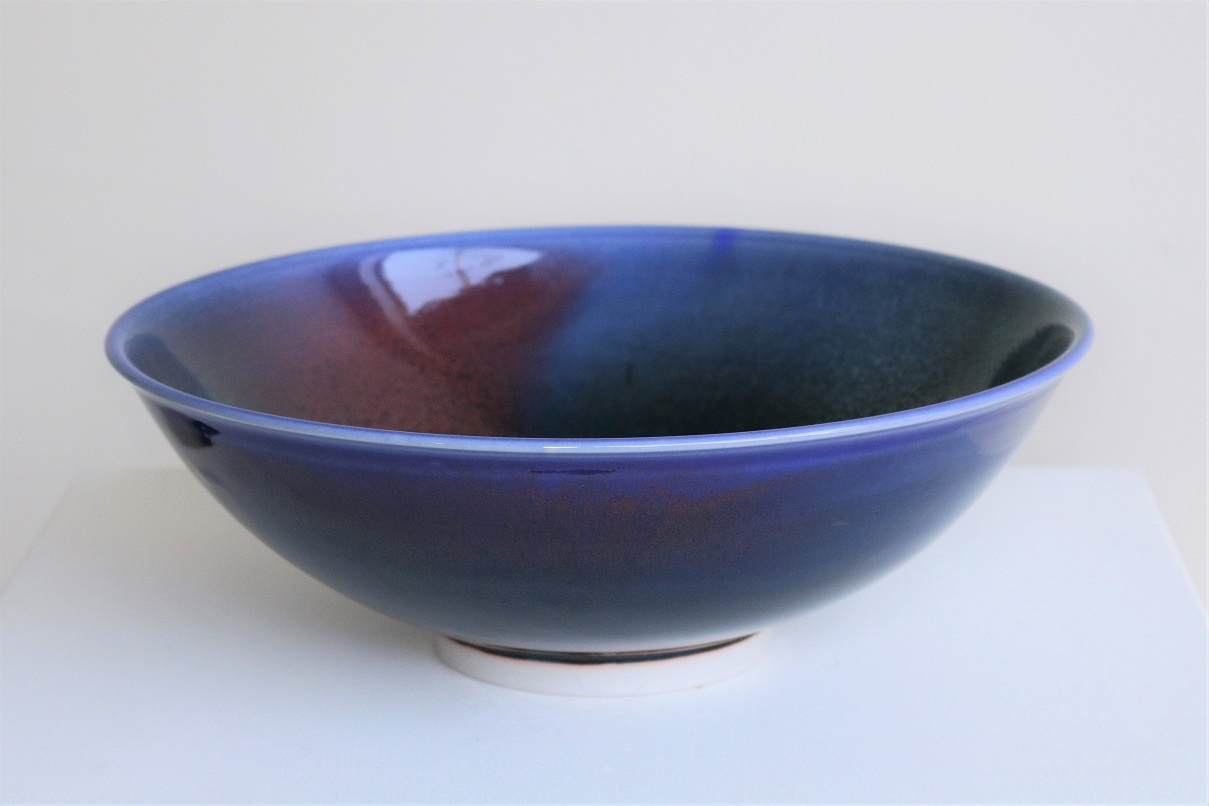 Arnaud Barraud,  Blue Bowl,  stoneware, blue, tenmoku, copper red and green glazes AVAILABLE