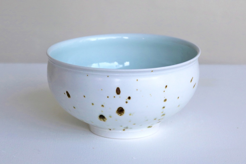 Arnaud Barraud,  Matching Bowls,  porcelain, iron oxide, celadon and eggshell glazes AVAILABLE