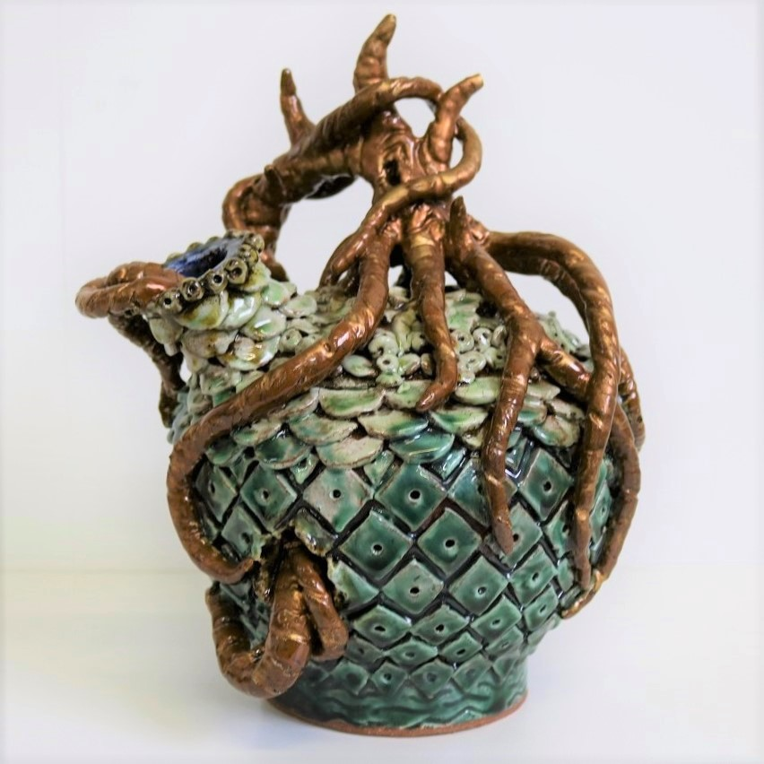 Snake and Jasmine Pot (Cambodian Series) 2014, stoneware, slip, glaze bronze wax, H30 x W20 x D20cm AVAILABLE