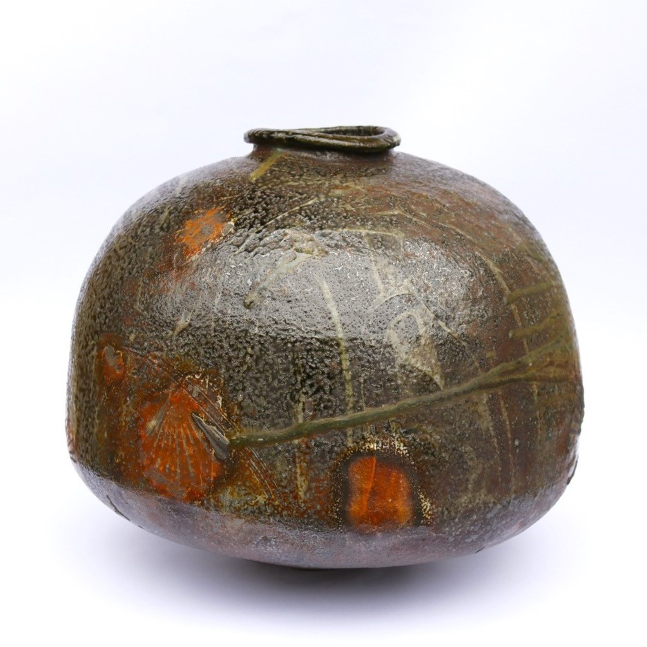 Kirk Winter 8.  Natural Ash Jar,  2017, multi fired wood fired stoneware, Hallam fire clay, Axedale ball clay, Blackwood, Black Wattle, Cedar Wattle, Swamp Gum, Pinus radiata, H 41 x Dia 48cm SOLD