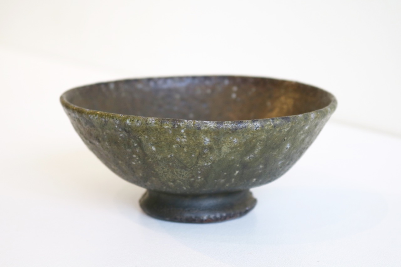 Kirk Winter 23.  Spring Bowl,  2017, wood fired stoneware, Black Wood on applied ash glaze SOLD