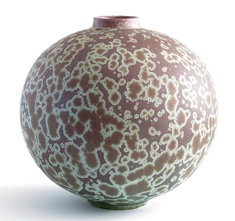 Ted Secombe, 31.  Round Form , 2018, porcelain, plum matt crystalline glaze, H30 x W28cm
