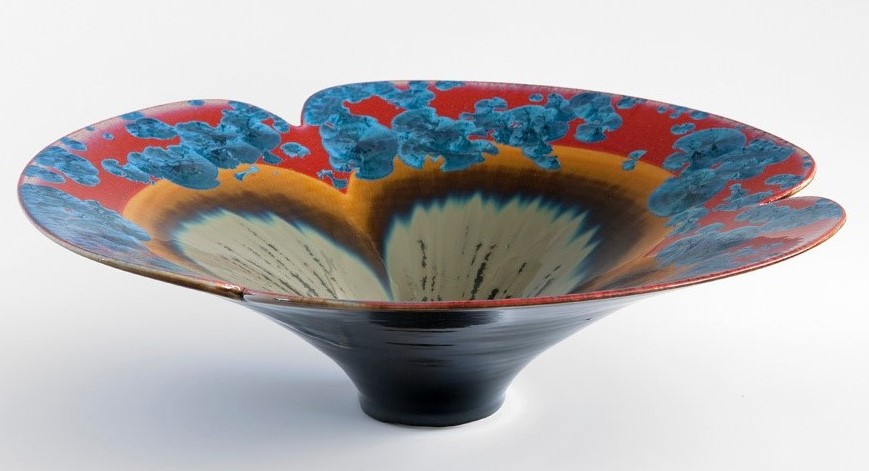 Ted Secombe 5.  Flared Bowl, Floral Series,  2018, porcelain, blue on red crystalline glaze with flow glaze, H48 x W15cm