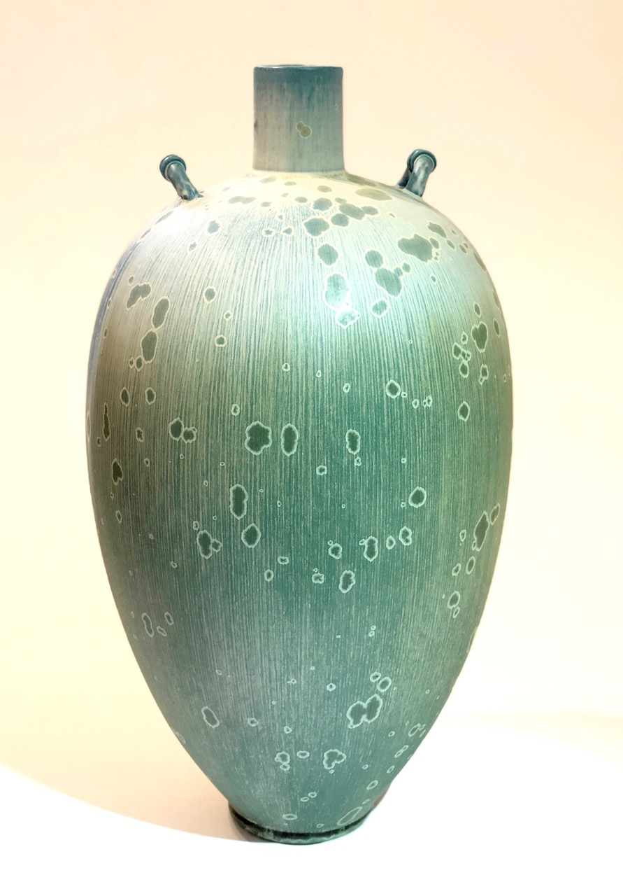 Ted Secombe 41.  Form with Lugs , 2018, porcelain, blue green matt crystalline glaze, H42 x W20cm