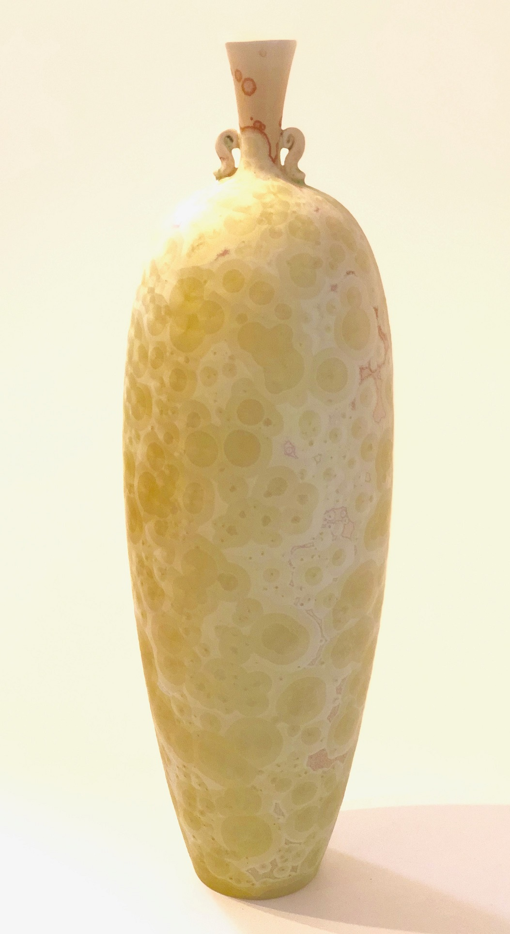 Ted Secombe 20.  Form with Lugs , 2018, porcelain, lemon matt crystalline glaze, H49 x W15cm