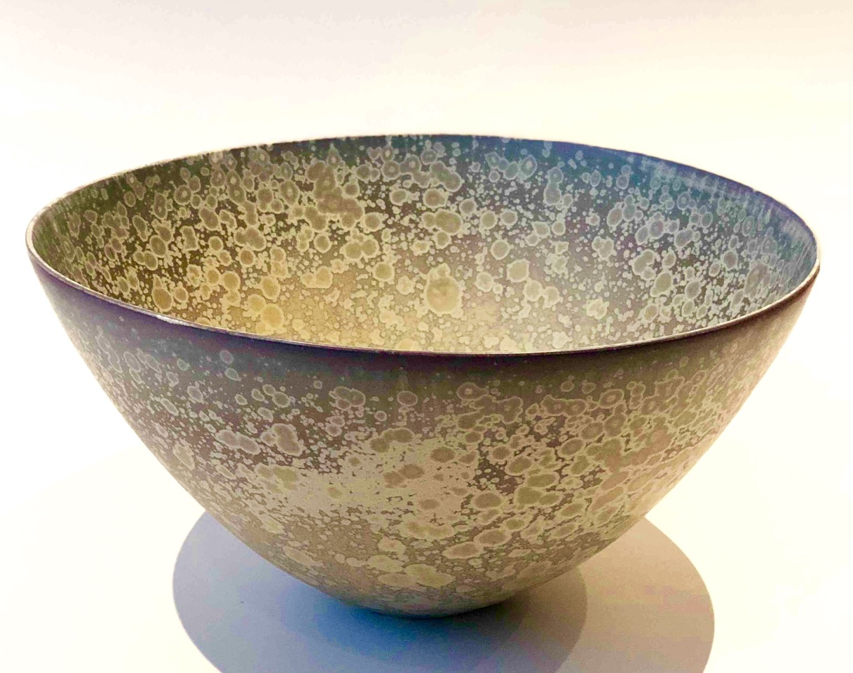 Ted Secombe, 69.  Bowl , 2018, porcelain, ice blue matt crystalline glaze, H20 x W38cm