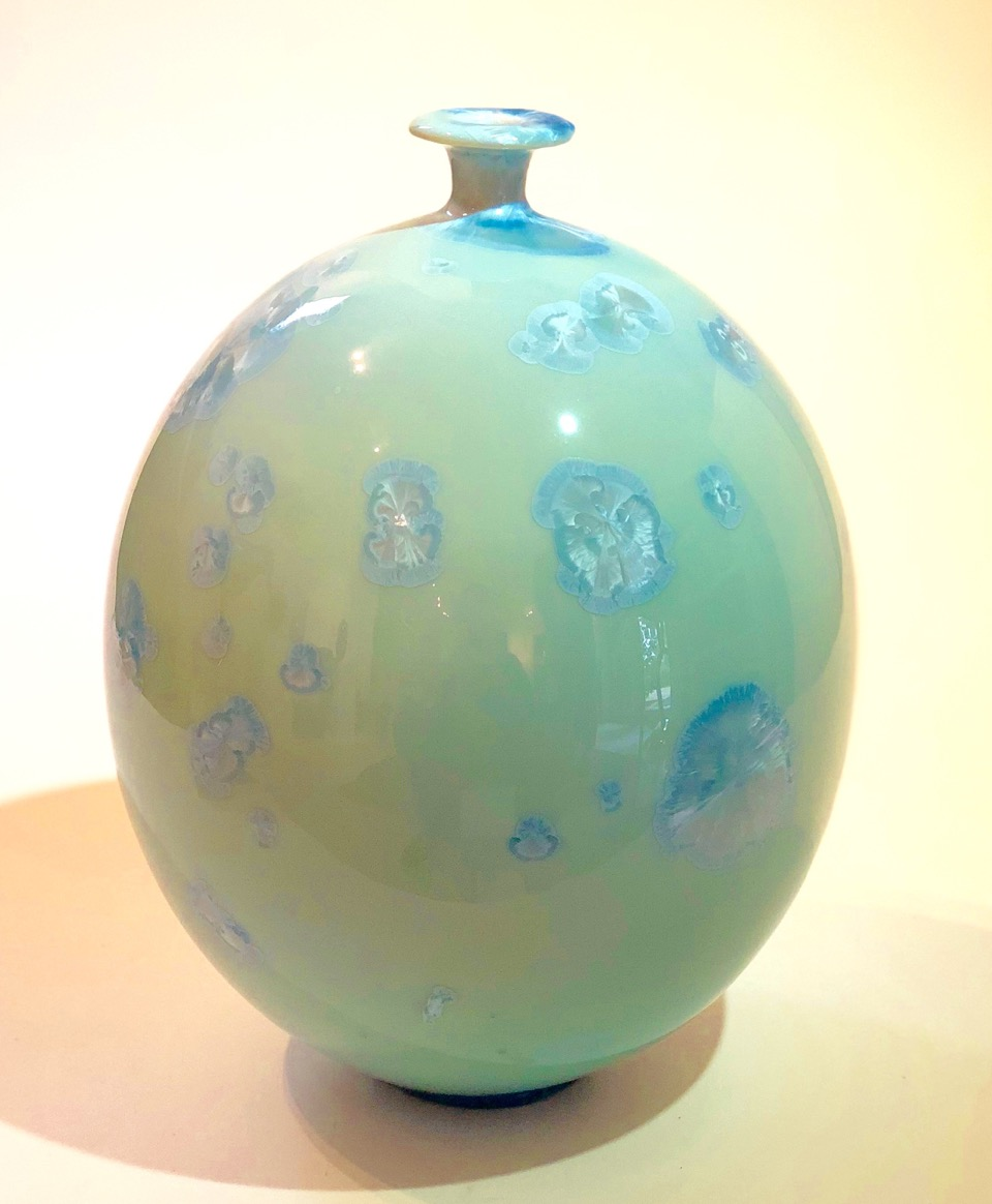 Ted Secombe 37.  Bottle , 2018, porcelain, aqua gloss crystalline glaze, H26 x W19cm