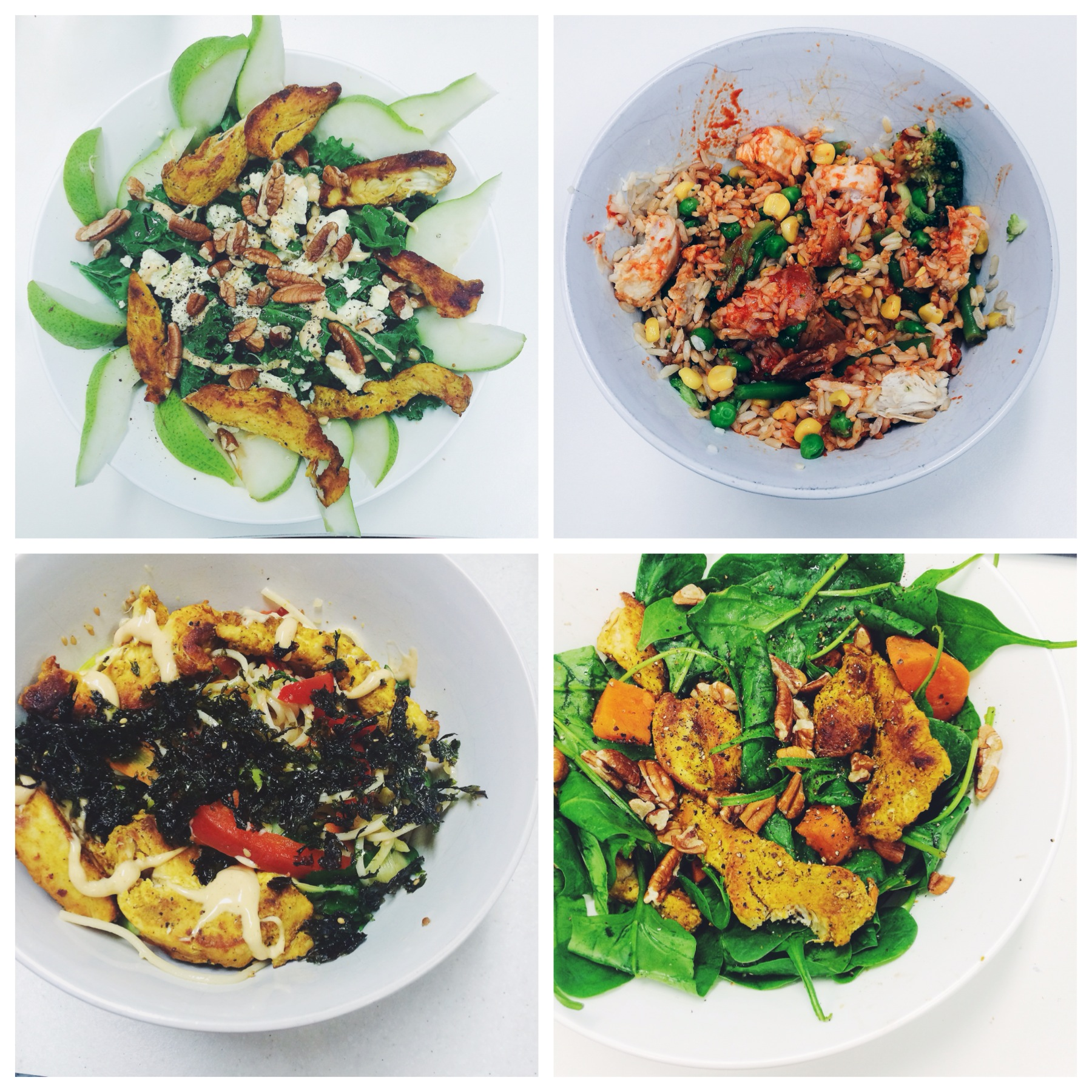 Rocket salad with pear, walnuts & feta | Grilled chicken with mixed veggies & brown rice drizzled with siracha sauce | Asian chicken salad with spicy peri peri sauce | Spinach & sweet potato salad with pine nuts.