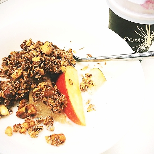 Homemade Cinnamon Granola Clusters + Almond Milk + Peach