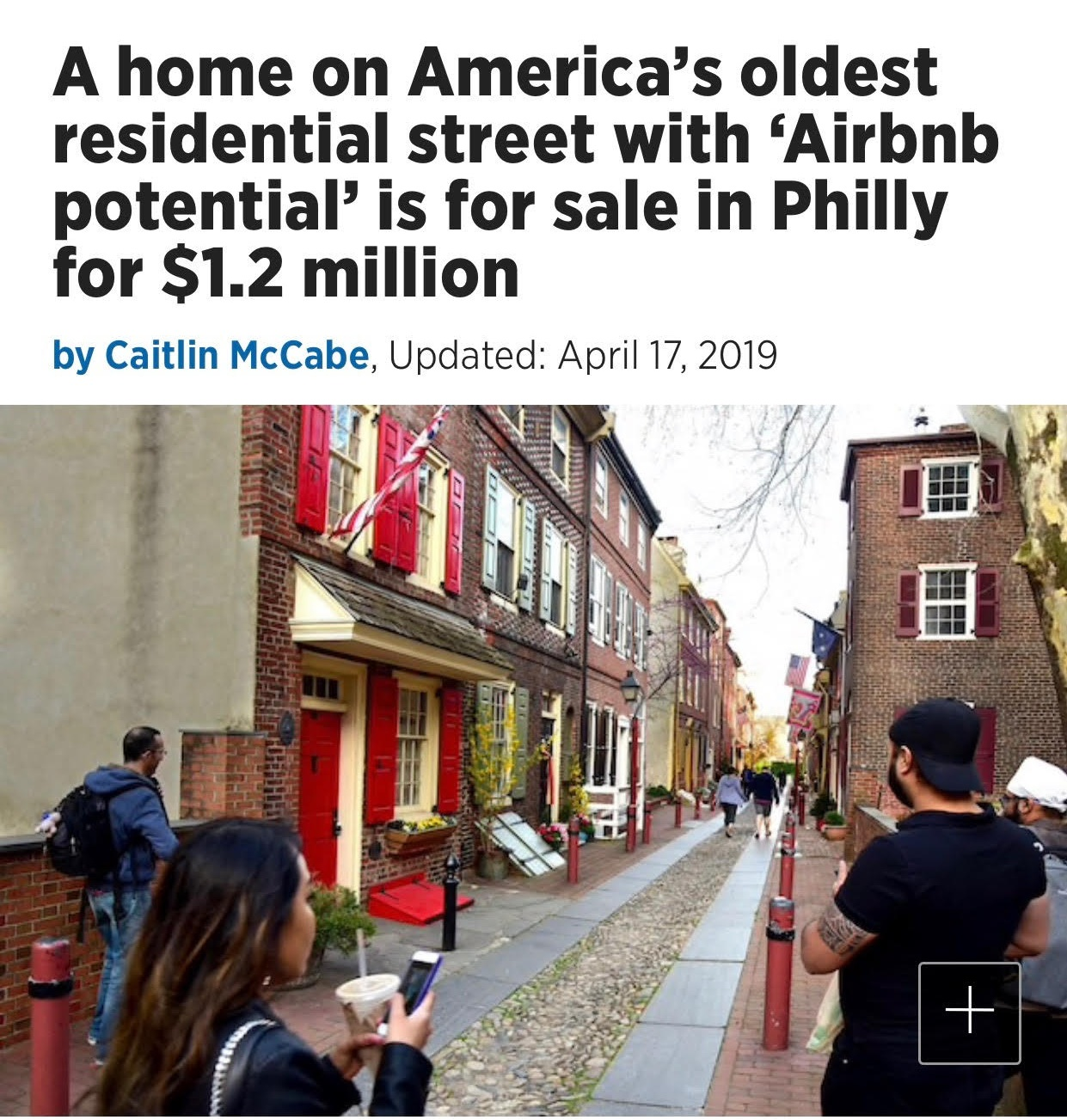 """""""It's narrow and it's cozy, but we really see the buyer of this property being someone who can rent the property out based on its historical value and its proximity to historical attractions in Philadelphia,"""" said Ryan McManus, the listing agent and founder of the real estate company Agent PHL. """"It's a historical attraction itself. That's [a] market for Airbnb."""""""