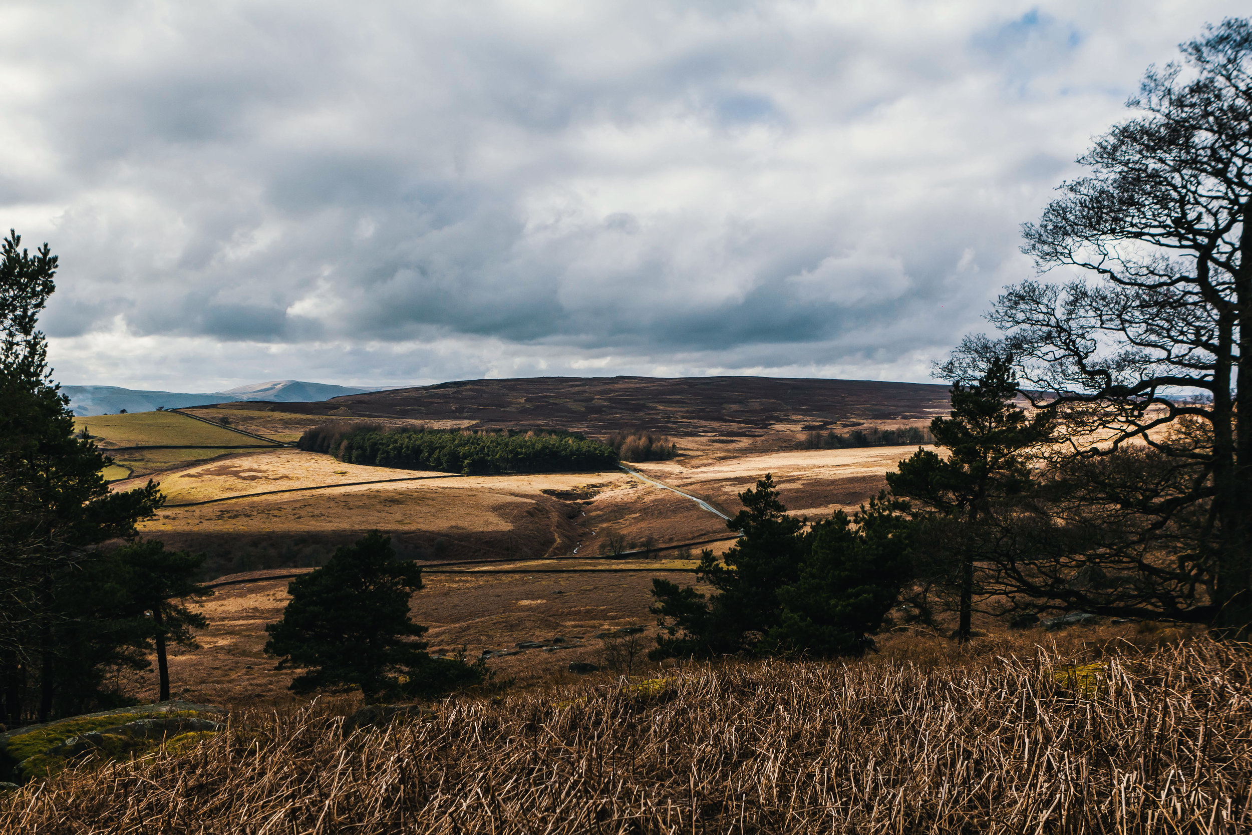 View from the trek to the top of Stanage Edge