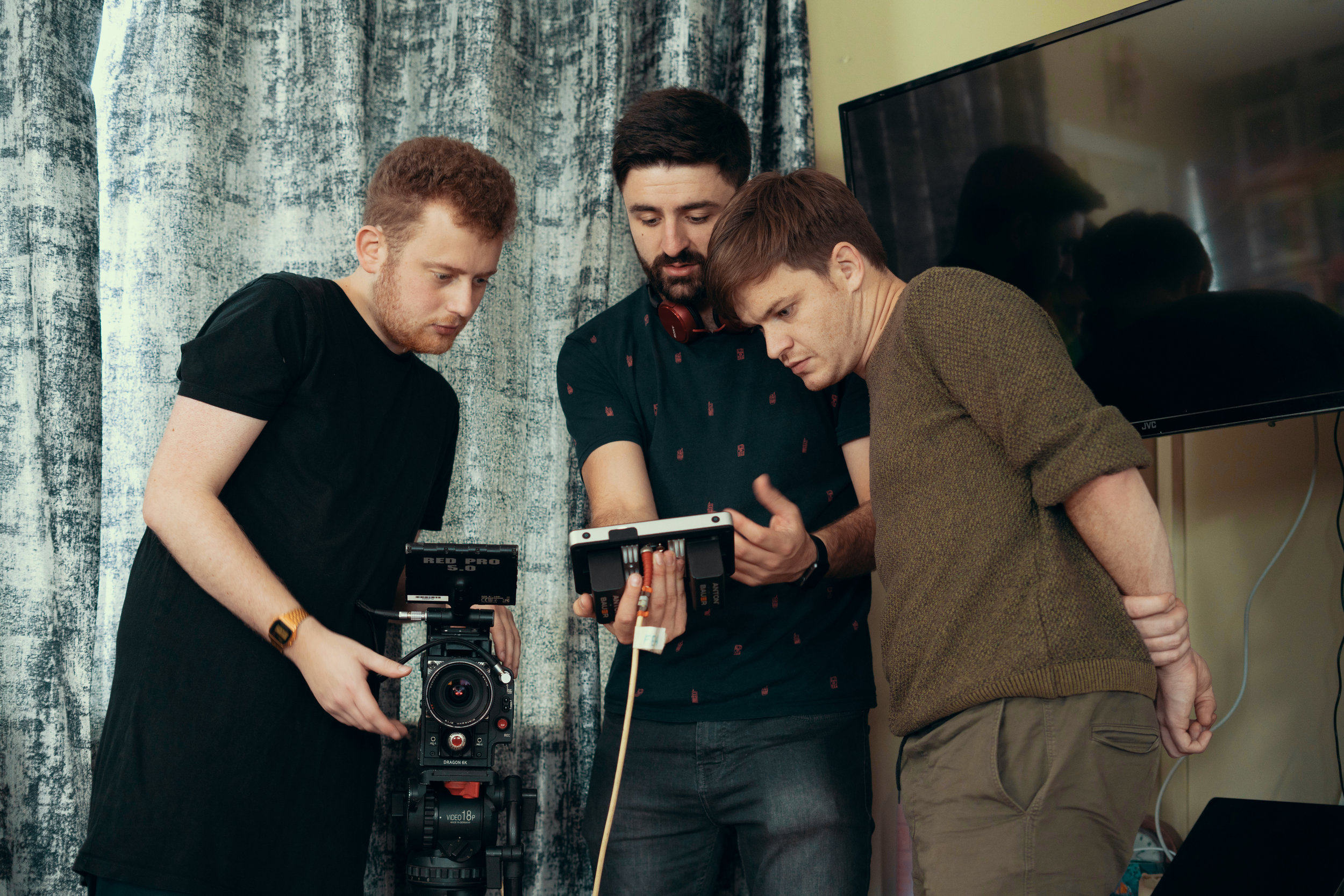 Checking the shot, BTS from a music video for Daithi.