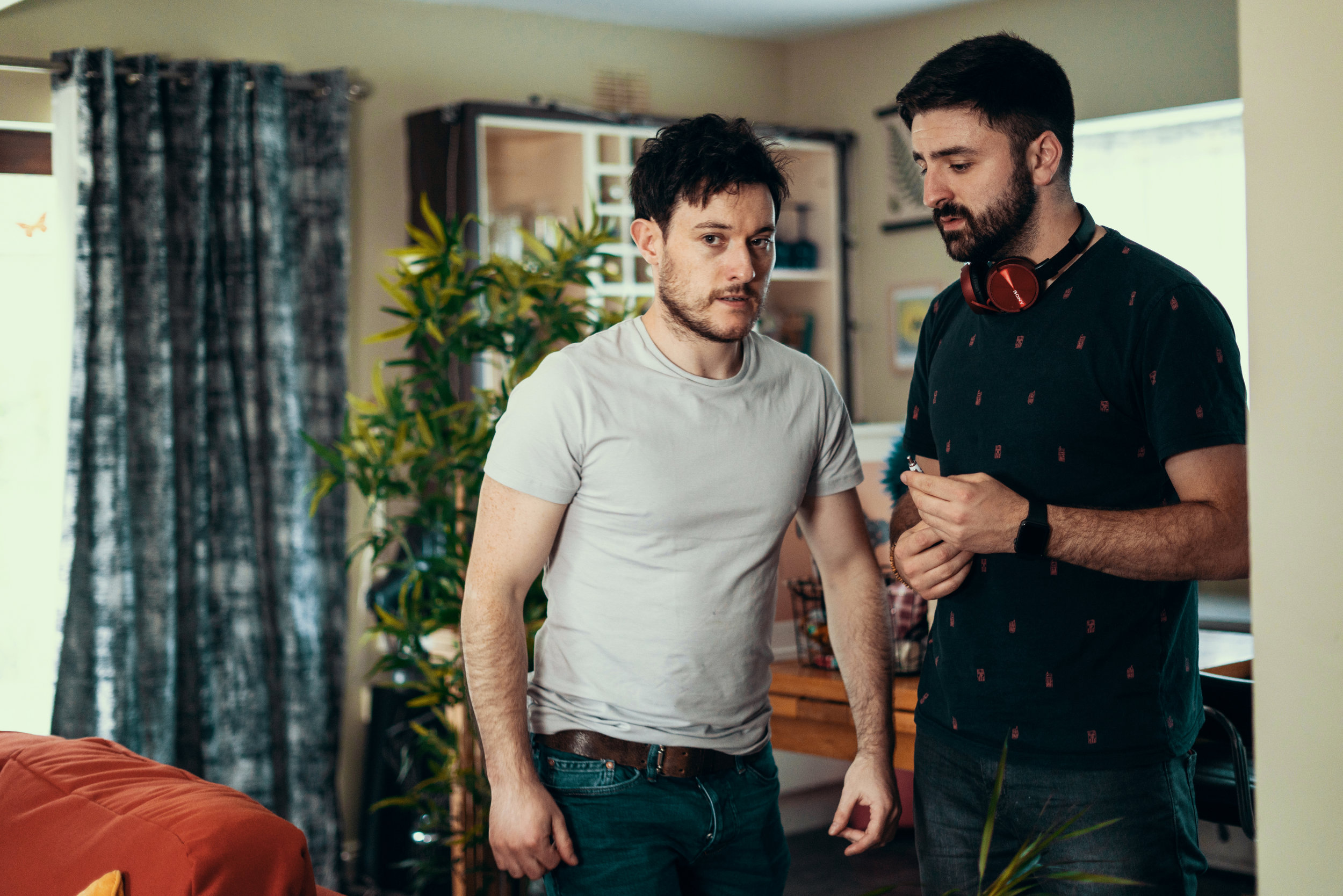 BTS of Director Lochlainn directing the Actor Diarmuid on a music video for Daithi.