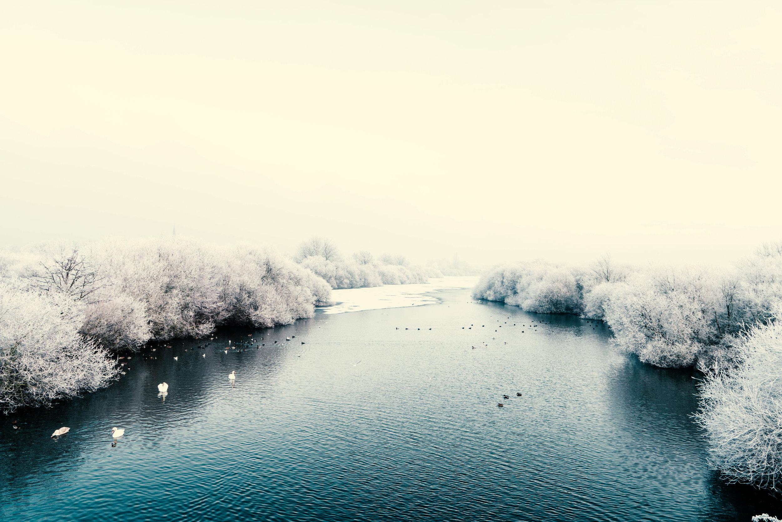 Snowy Blue Lake