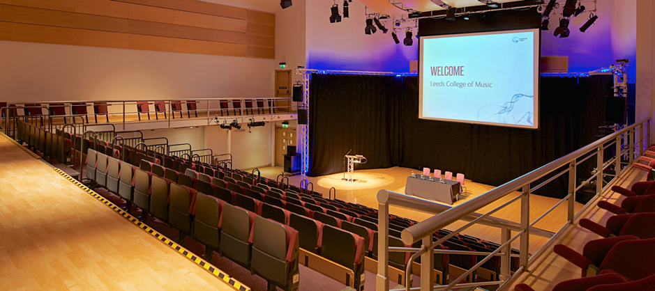 Leeds College of Music Venue - The Venue at Leeds College of Music will host 3 panels during the day as well as the opening and closing sessions for the Unconference as a whole. In all it seats 350 people, and will be in use for the duration of the day.