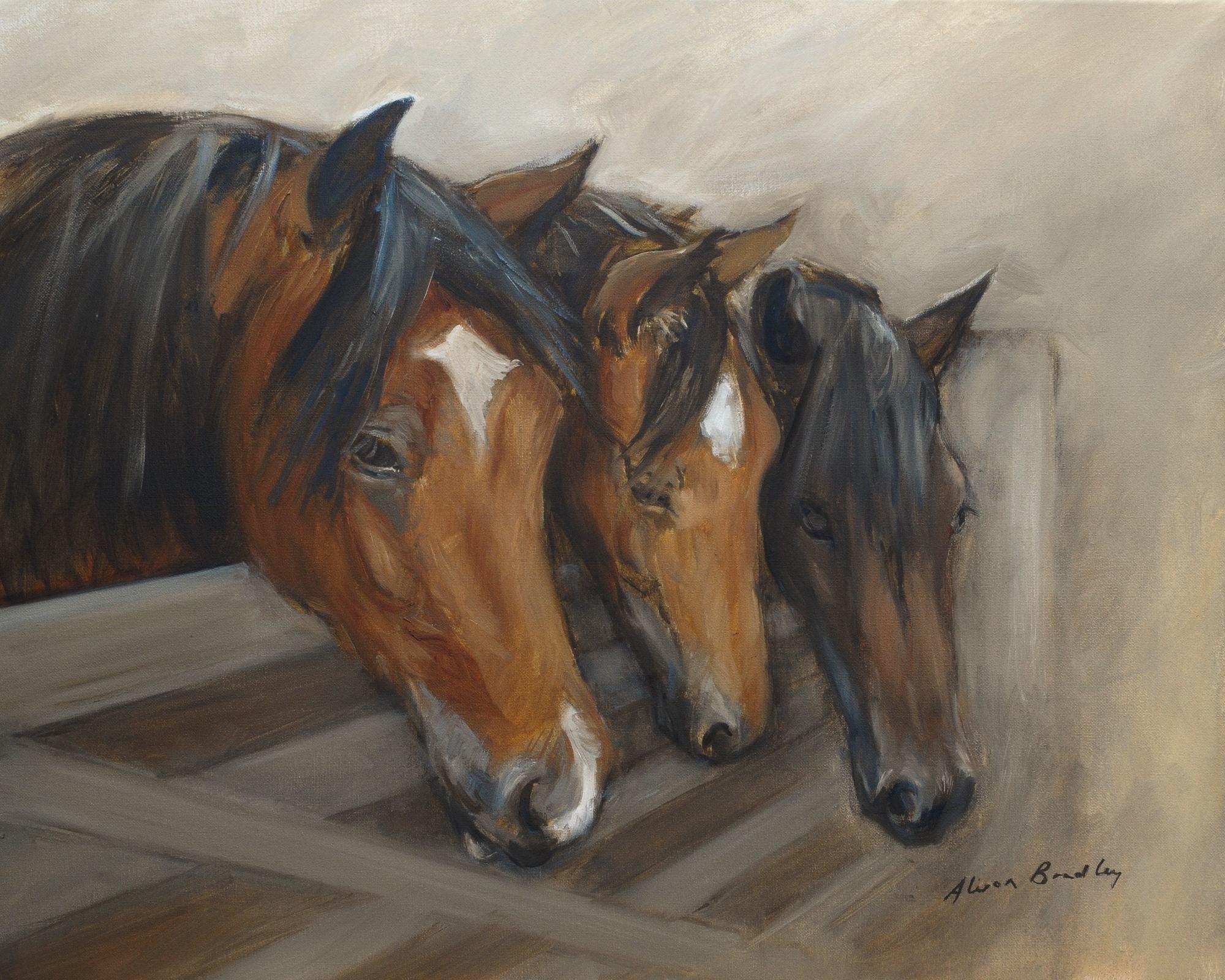 Paardensport en paardenrennen in olieverf