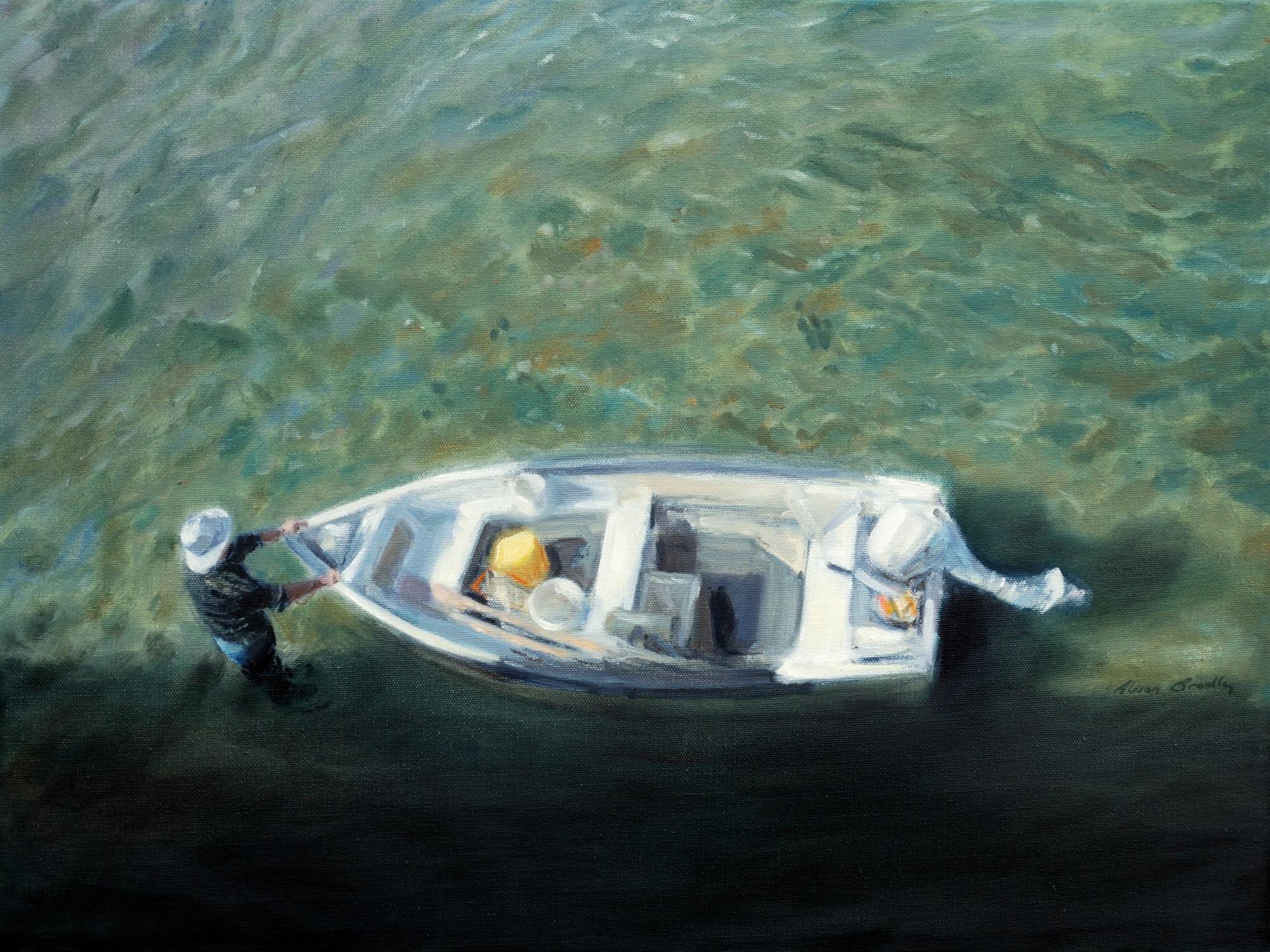 De kust in olieverf