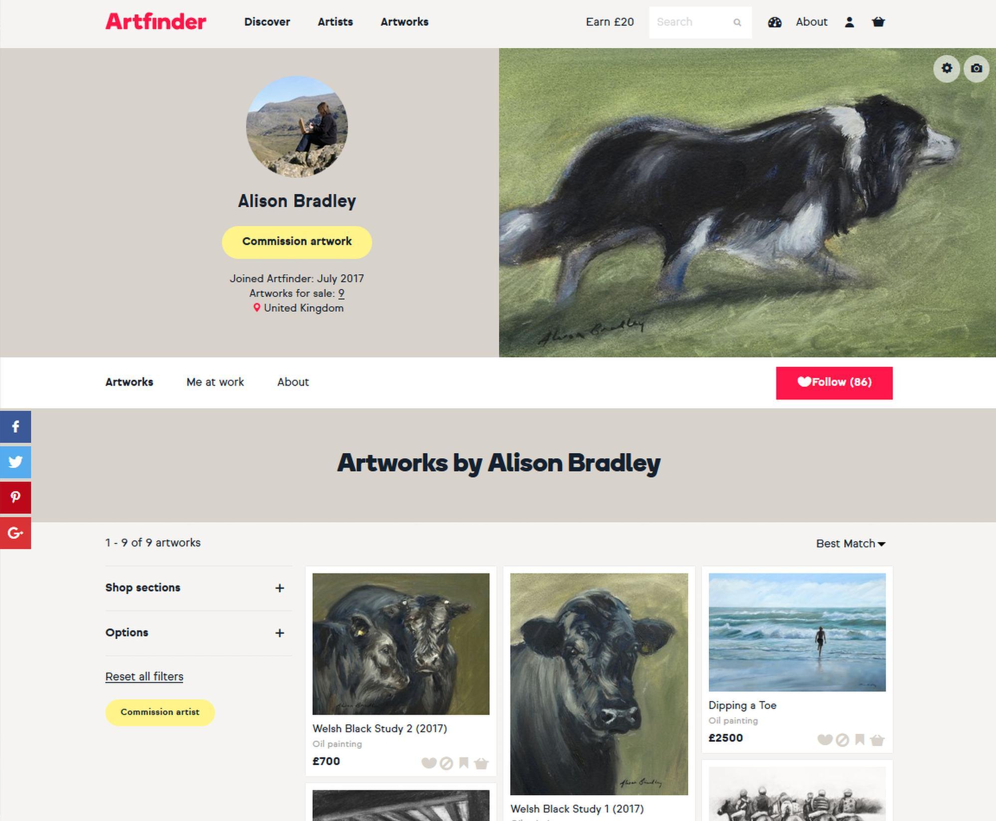 Artfinder - Alison's page