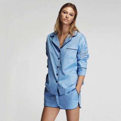 This 100% cotton  pajama  has such a nice blue tone ($200)