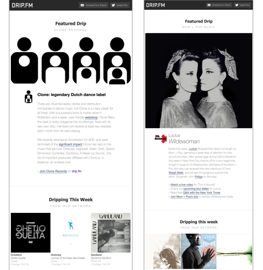 Click to reveal two samples of Drip.fm newsletters