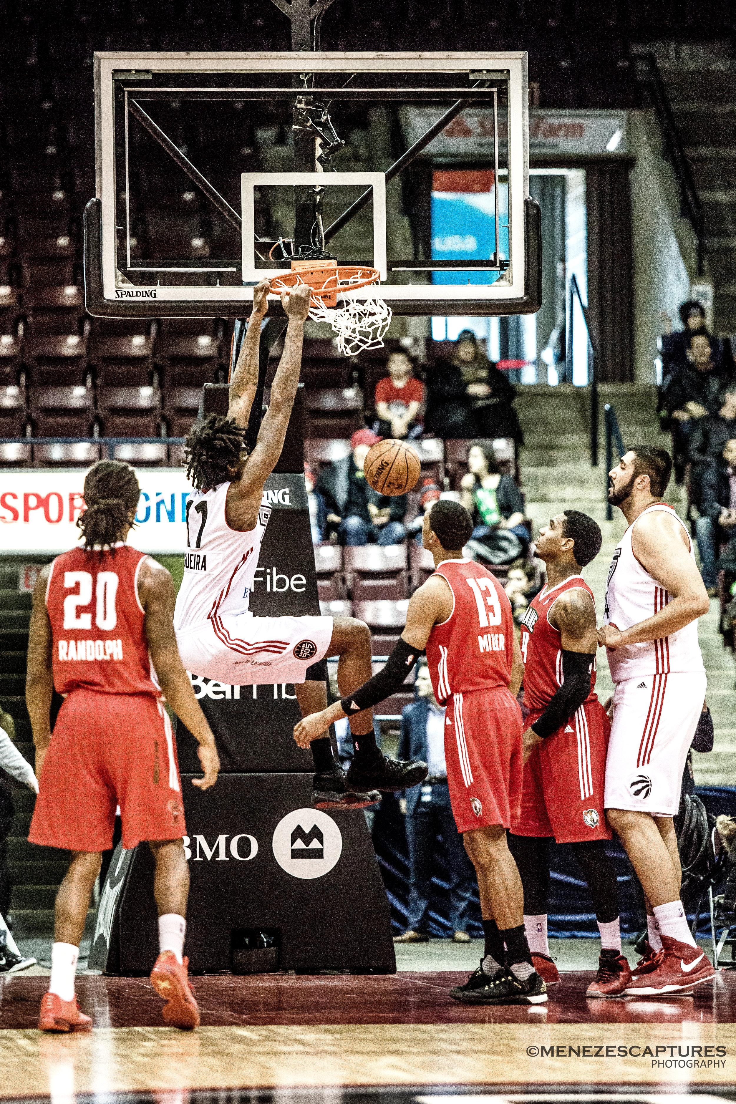 Toronto Raptor centre Lucas Negouira goes for the dunk (2017)