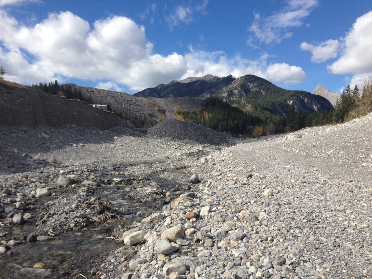 Figure 1.  Example of a steep, alluvial fan channel: Exshaw Creek, Alberta, BC (October 2014)