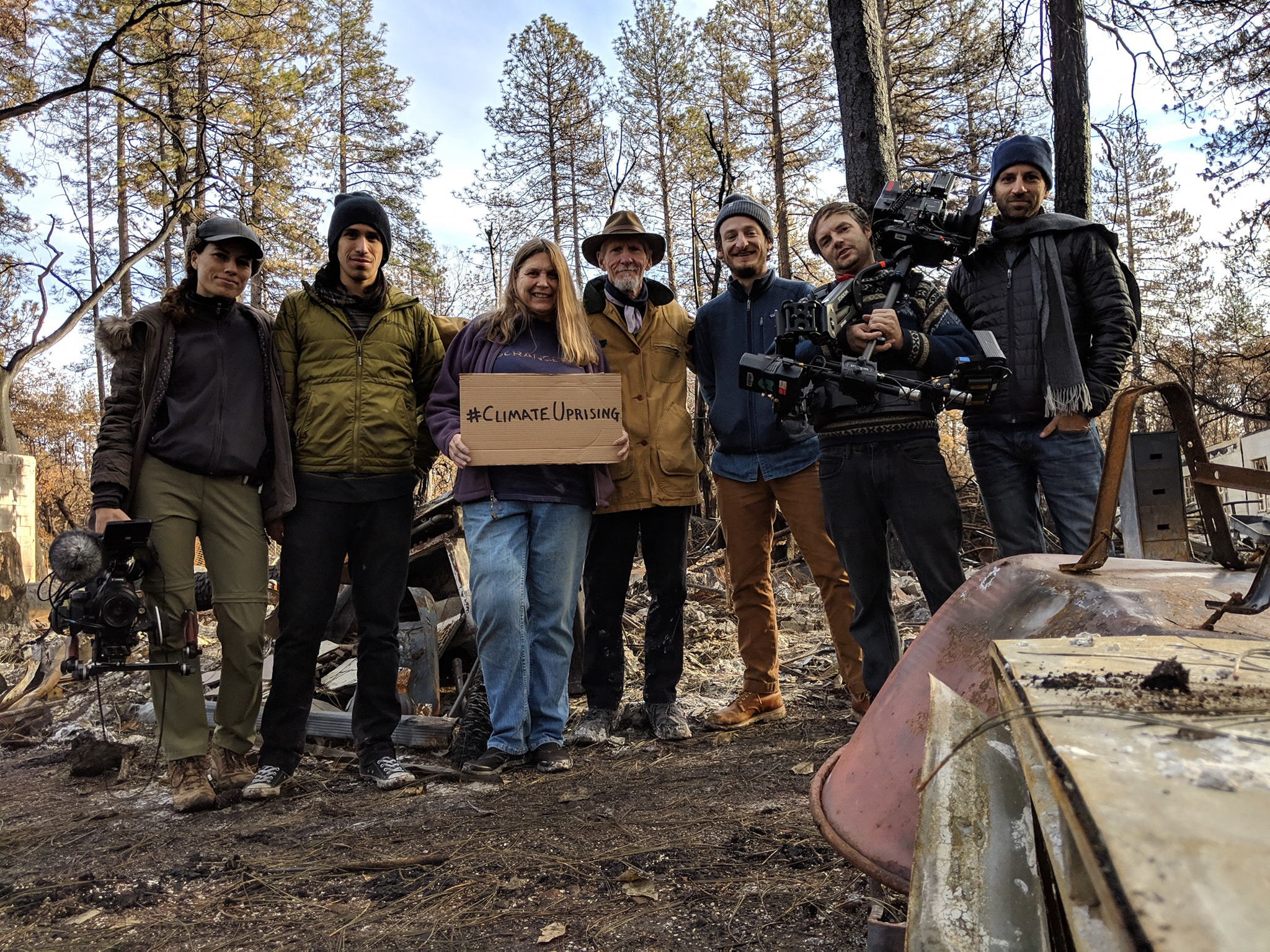 Interconnected crew on location in Paradise, CA with wildfire survivors for  #ClimateUprising