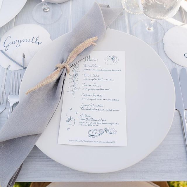 Pretty little menus for @goop at an event on Nantucket! The illustrations and calligraphy were inspired by a French recipe card. Swipe for pics! Yes friends, @gwynethpaltrow was there and probably touched a menu at some point. Printing and art direction by the amazing @dearelouise @buckheadprintery  Event hosted by @curtisstone  @sperry #goopbythesea