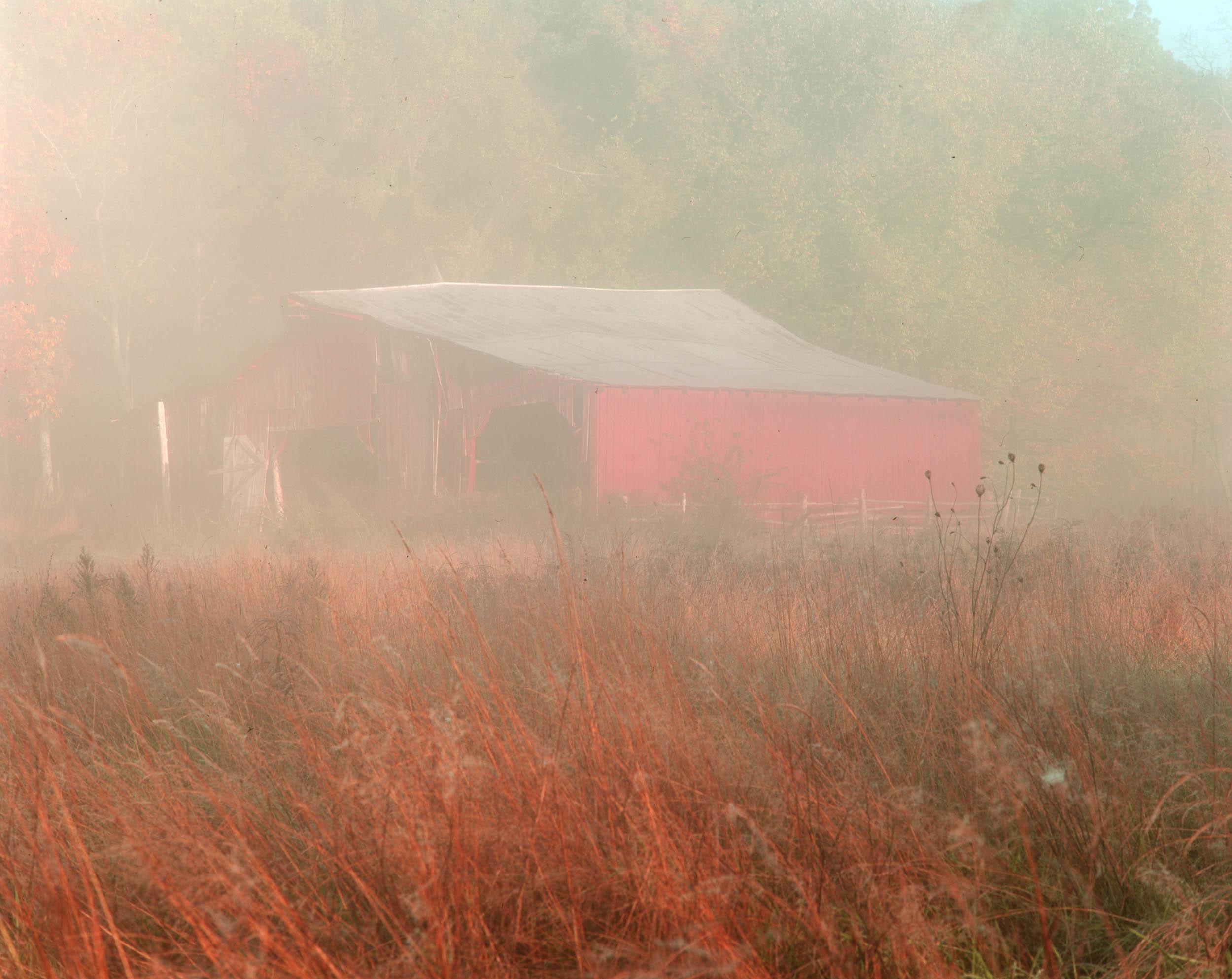 Red Barn in Fog