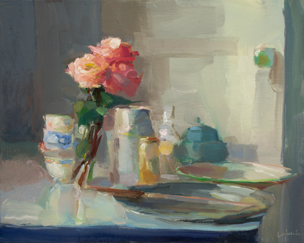 L16_Lafuente, Roses, Teacups, and Knife, 16x20 inches, oil on linen, 2017 $4800.jpg