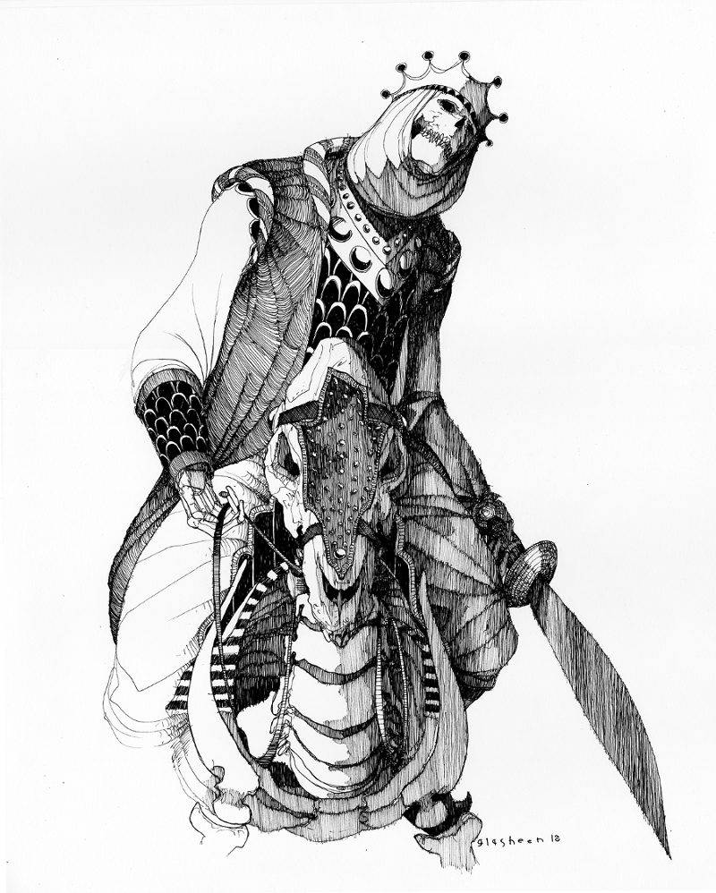 """Kate Glasheen, Dead King 14 [5th Century Mandé King], 2018, ink on archival paper, 20"""" x 16"""""""