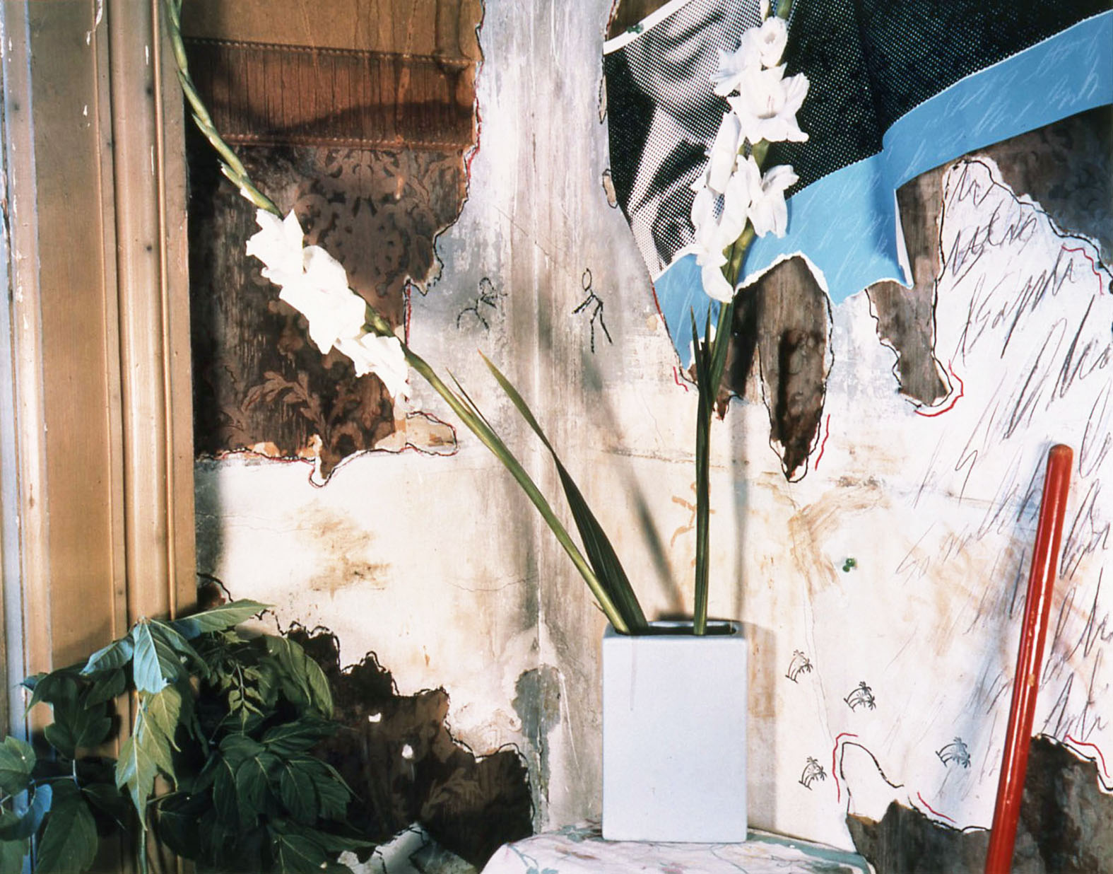 """Studio C Series/Man with Necktie, Gladiolas in Blue Vase"", 1985, 20x24"""