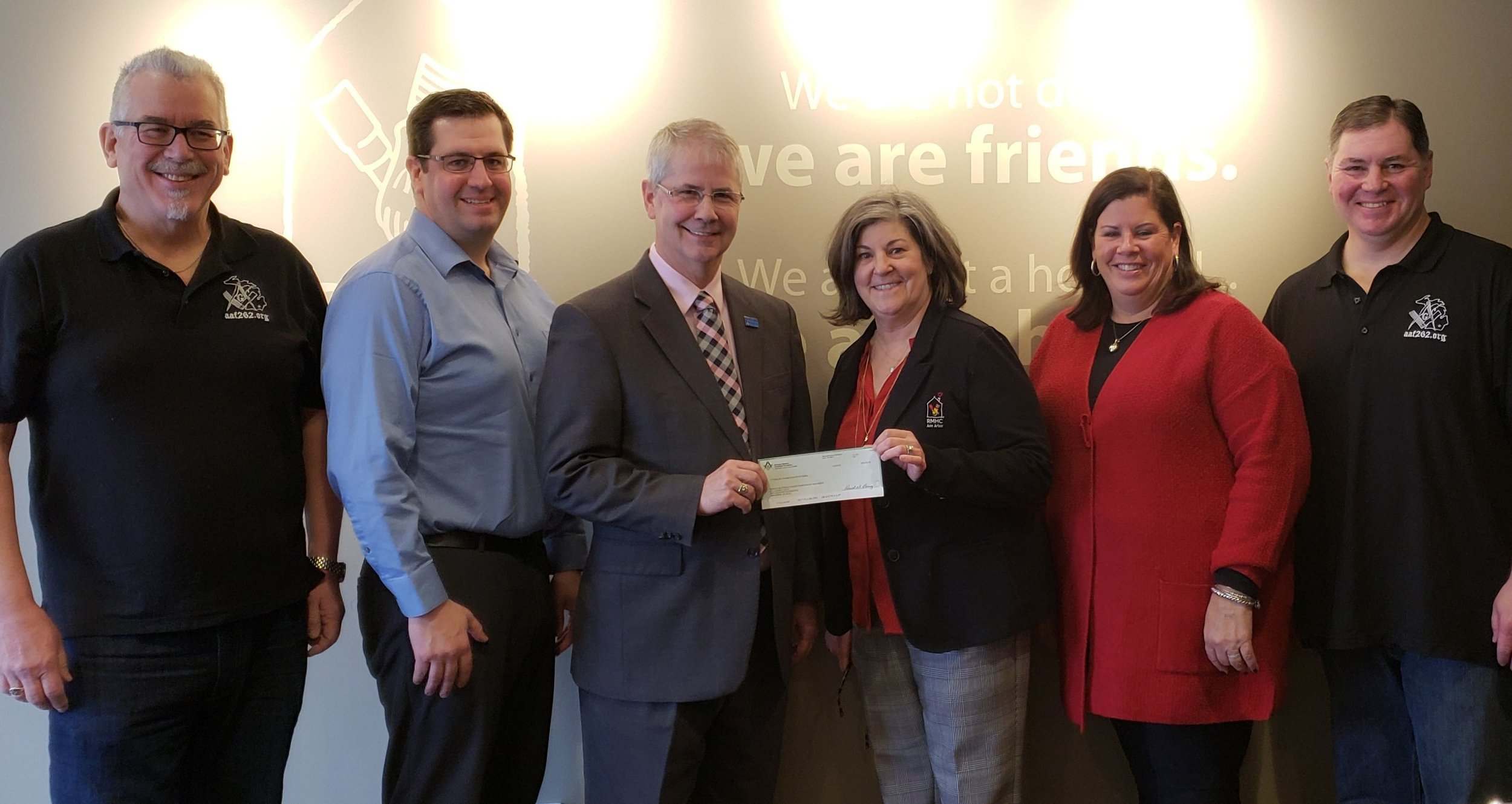 AAF262 assists Walt Wheeler PGM in presenting $36,000 to the Ann Arbor Ronald McDonald House