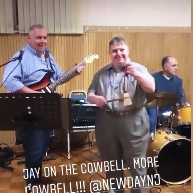 Jay playing the cowbell with @tpimpinelli at the @newdaynj annual scholarship dinner.