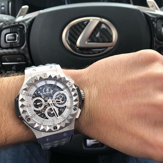 New favorite watch paired with the RC F courtesy of @camdens_horology, Hublot Big Bang Depeche Mode Special Edition in Steel!