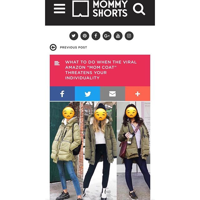 """Thanks to my girl @mommyshorts for featuring my story about how the Amazon """"mom"""" coat attempted to steal my identity. (Ok that's dramatic. But you're interested right?) Link in bio!"""