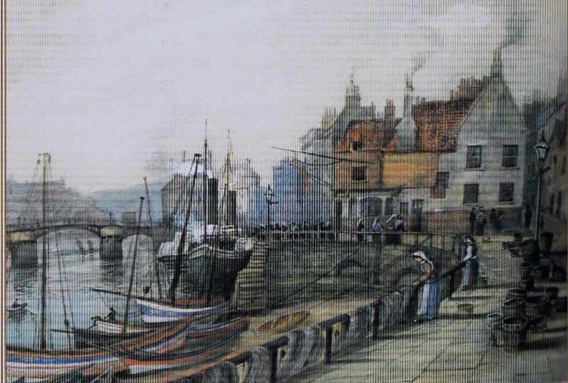 Whitby Harbour on canvas from  Wikimedia Commons .