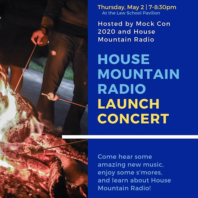 Our first House Mountain Radio Concert is at the Law School Pavillion this Thursday! Come grab some s'mores and listen to the original music our student artists are creating!
