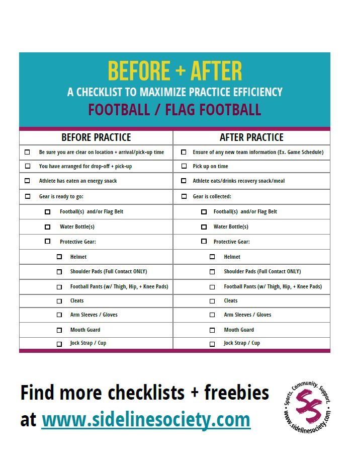 Before + After Practice Checklist - Football/Flag Football