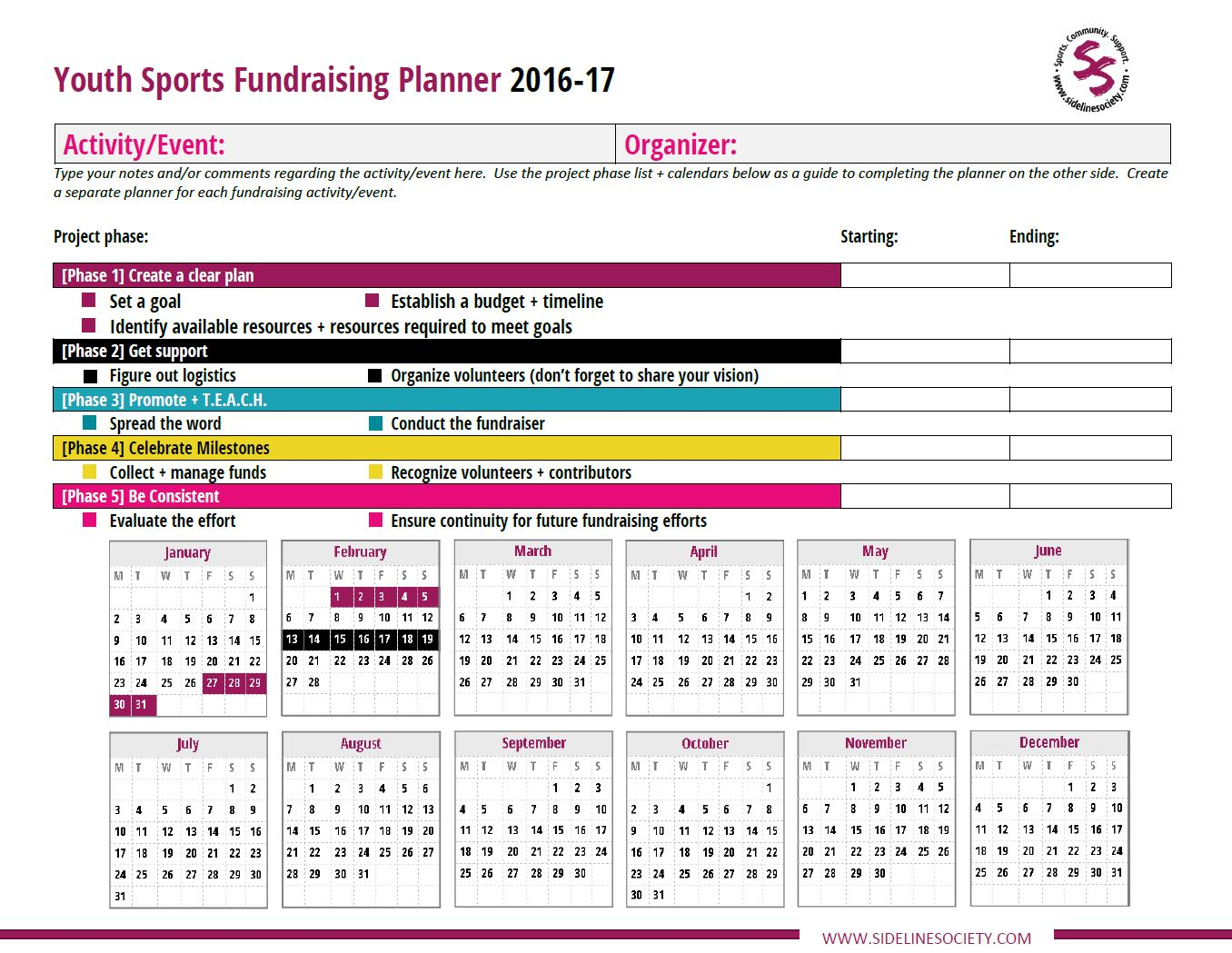 Youth Sports Fundraising Planner 2016-17
