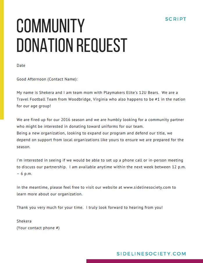 Local Community Donation Request - Script
