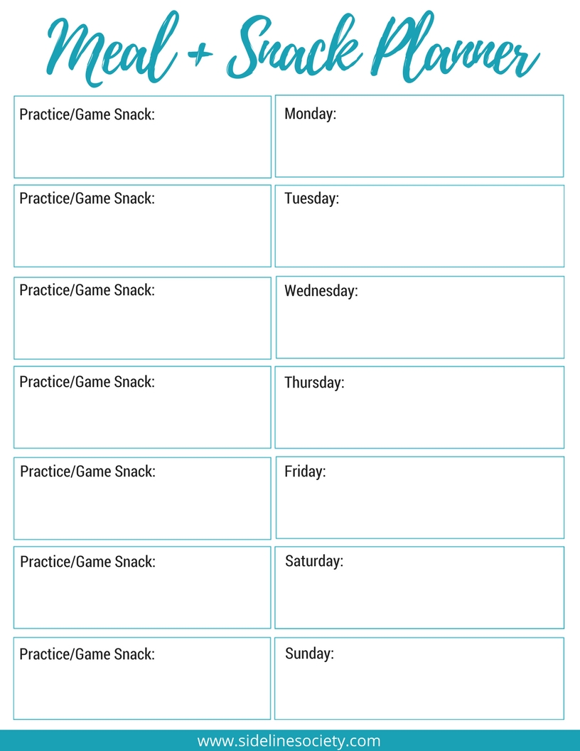 Daily Meal + Snack Planner