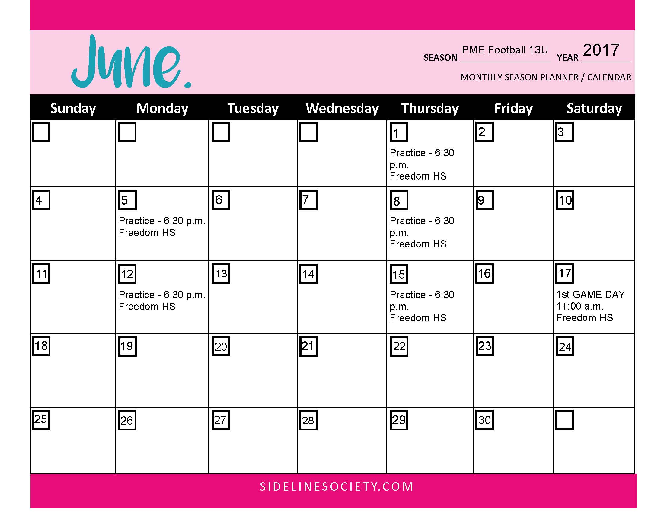 Monthly Season Planner / Calendar (Season Planning Kit)