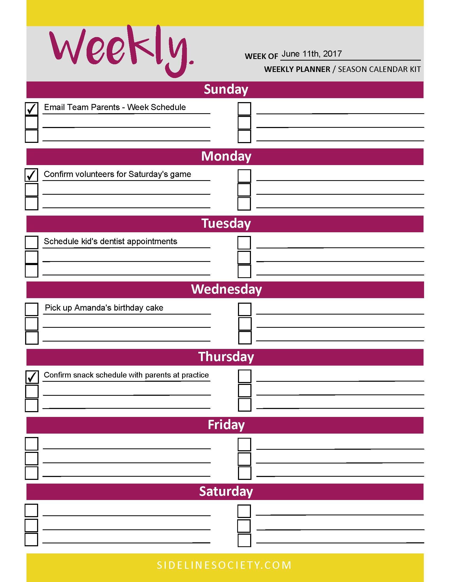 Weekly Planner (Season Planning Kit)